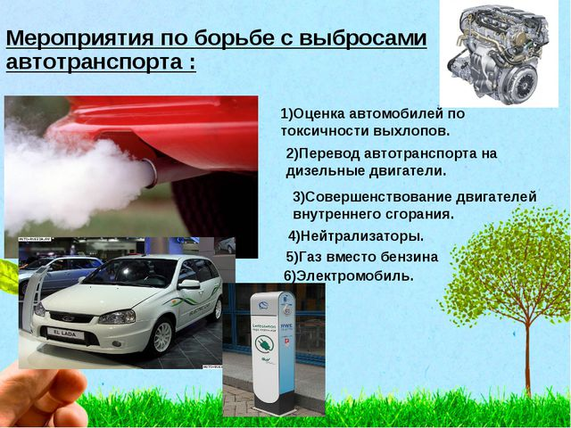 Мероприятия по борьбе с выбросами автотранспорта : 1)Оценка автомобилей по то...