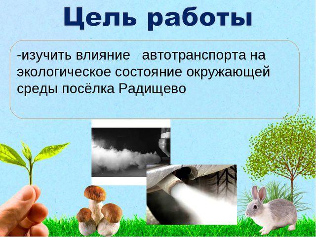 -изучить влияние автотранспорта на экологическое состояние окружающей среды...