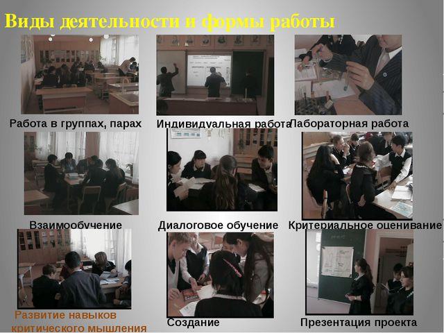 Виды деятельности и формы работы Работа в группах, парах Индивидуальная работ...