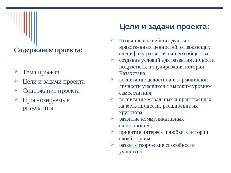 Содержание проекта: Тема проекта Цели и задачи проекта Содержание проекта Про...