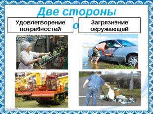 Две стороны экономики Удовлетворение потребностей человека Загрязнение окружа