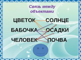 Связь между объектами ЦВЕТОКСОЛНЦЕ БАБОЧКАОСАДКИ ЧЕЛОВЕКПОЧВА