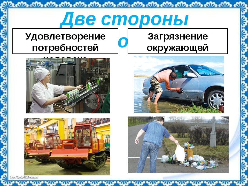 Две стороны экономики Удовлетворение потребностей человека Загрязнение окружа...