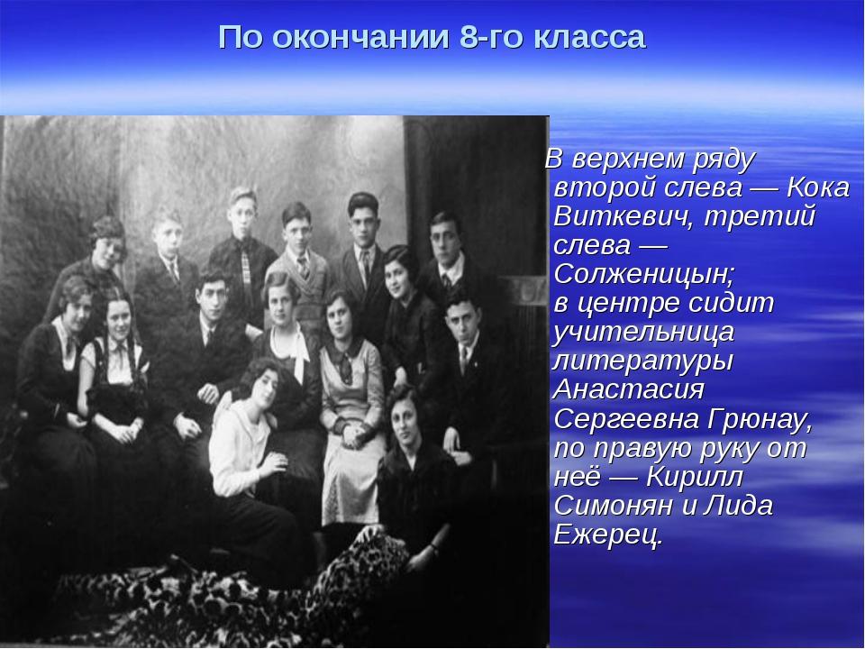 По окончании 8-го класса В верхнем ряду второй слева — Кока Виткевич, третий...