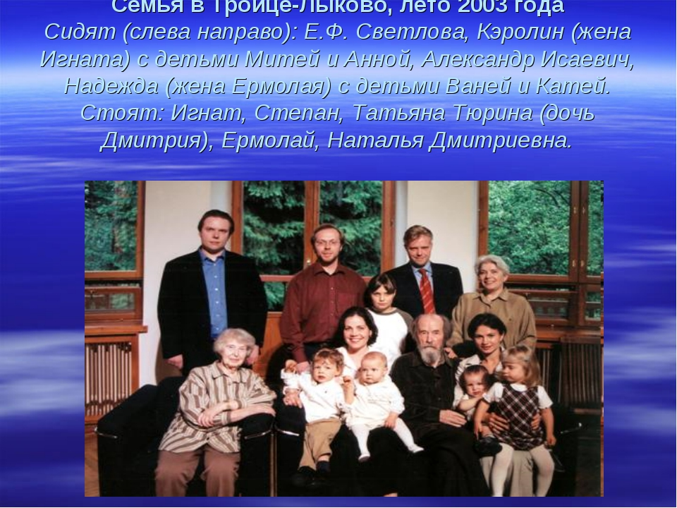 Семья в Троице-Лыково, лето 2003 года Сидят (слева направо): Е.Ф. Светлова,...
