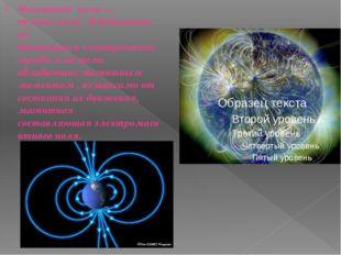 Магнитное поле— силовоеполе , действующее на движущиесяэлектрические заряд