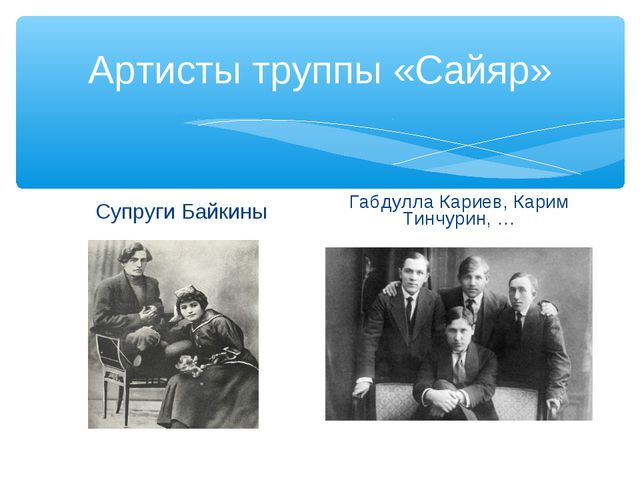Артисты труппы «Сайяр» Супруги Байкины Габдулла Кариев, Карим Тинчурин, …