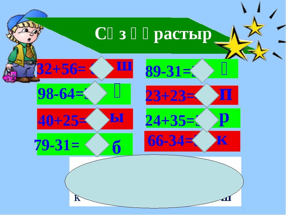 Сөз құрастыр 32+56= 86 ш 98-64=34 ө 40+25=65 ы 79-31= 48 б 89-31=58 ұ 23+23=...