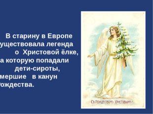 В старину в Европе существовала легенда о Христовой ёлке, на которую попадал
