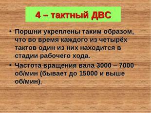 4 – тактный ДВС Поршни укреплены таким образом, что во время каждого из четыр
