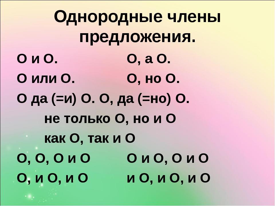 Однородные члены предложения. О и О.О, а О. О или О.О, но О. О да (=и) О...