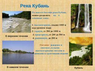 Река Кубань По высоте бассейн реки Кубань можно разделить на 4 основные зоны: