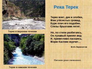 Река Терек Терек в верхнем течении Терек в нижнем течении Питание реки смешан