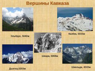 Вершины Кавказа Эльбрус, 5642м Казбек, 5033м Дыхтау,5203м Шхара, 5068м Шхельд