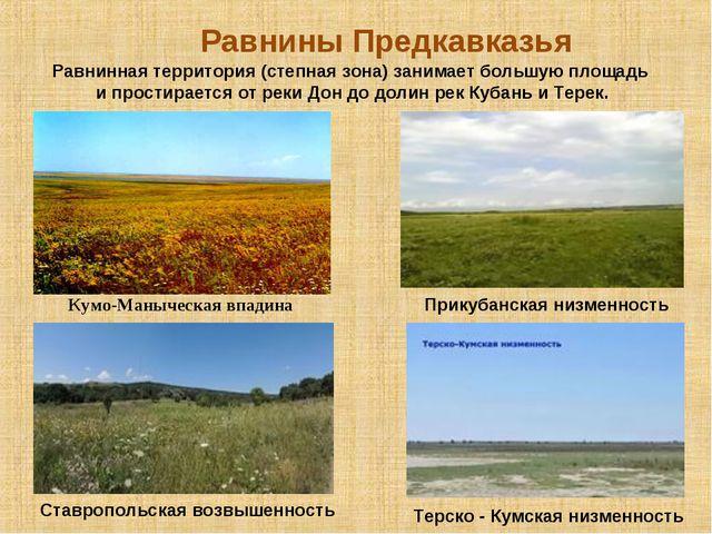 Равнины Предкавказья Кумо-Маныческая впадина Равнинная территория (степная зо...