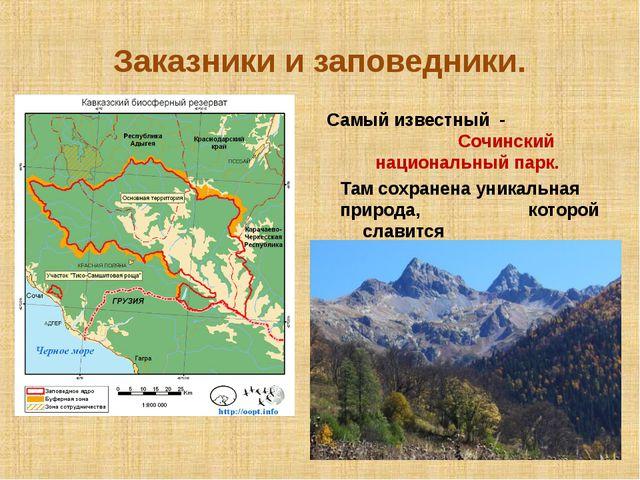 Заказники и заповедники. Самый известный - Сочинский национальный парк. Там с...