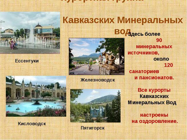 Курортная группа Кавказских Минеральных вод Кисловодск Ессентуки Железноводск...