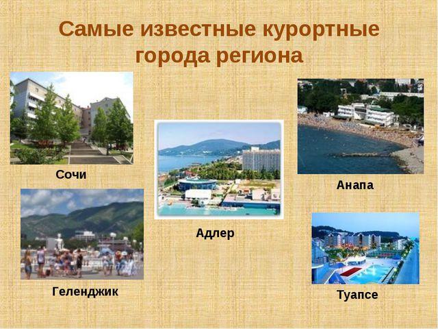 Самые известные курортные города региона Сочи Адлер Анапа Геленджик Туапсе