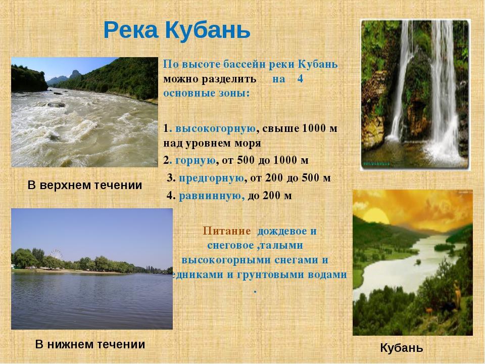 Река Кубань По высоте бассейн реки Кубань можно разделить на 4 основные зоны:...