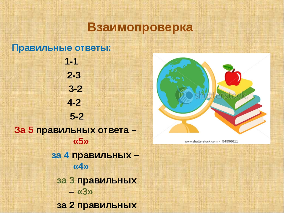 Взаимопроверка Правильные ответы: 1-1 2-3 3-2 4-2 5-2 За 5 правильных ответа...