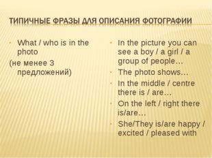What / who is in the photo (не менее 3 предложений) In the picture you can se