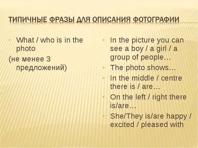 What / who is in the photo (не менее 3 предложений) In the picture you can se...
