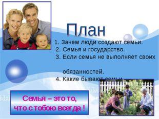 1. Зачем люди создают семьи. 2. Семья и государство. 3. Если сем