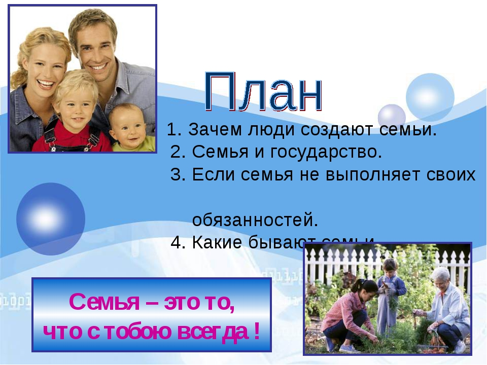 1. Зачем люди создают семьи. 2. Семья и государство. 3. Если сем...