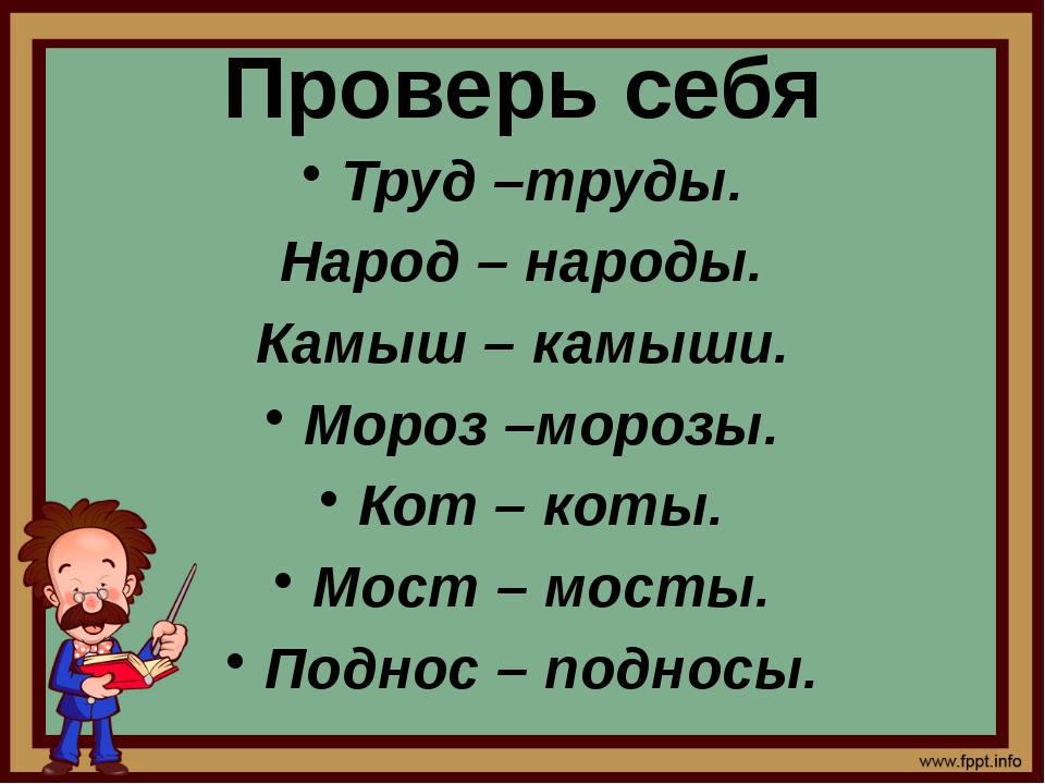 Проверь себя Труд –труды. Народ – народы. Камыш – камыши. Мороз –морозы. Кот...