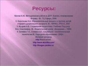 Ресурсы: 1Белая К.Ю. Методическая работа в ДОУ: Анализ, планирование Формы.-