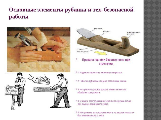 Основные элементы рубанка и тех. безопасной работы Правила техники безопаснос...