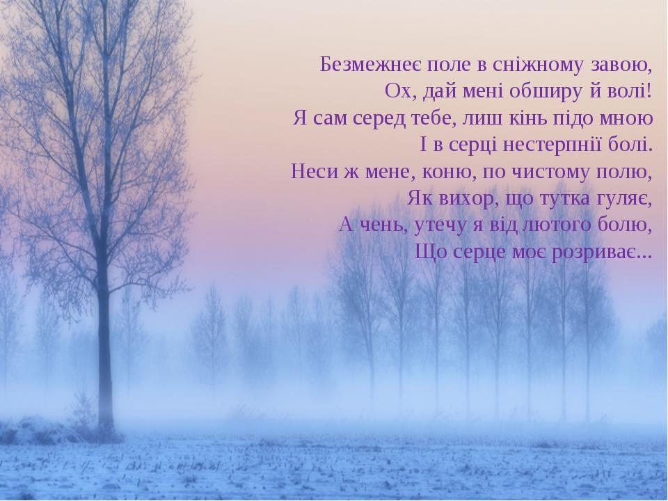 Безмежнеє поле в сніжному завою, Ох, дай мені обширу й волі! Я сам серед тебе...