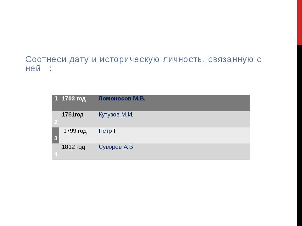 Соотнеси дату и историческую личность, связанную с ней : 1 1703год Ломоносов...