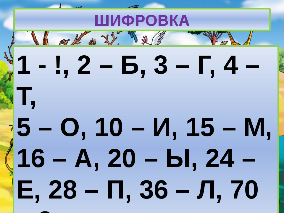 ШИФРОВКА 1 - !, 2 – Б, 3 – Г, 4 – Т, 5 – О, 10 – И, 15 – М, 16 – А, 20 – Ы, 2...