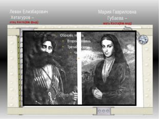 Леван Елизбарович Хетагуров – отец Коста(йæ фыд) Мария Гавриловна Губаева – м