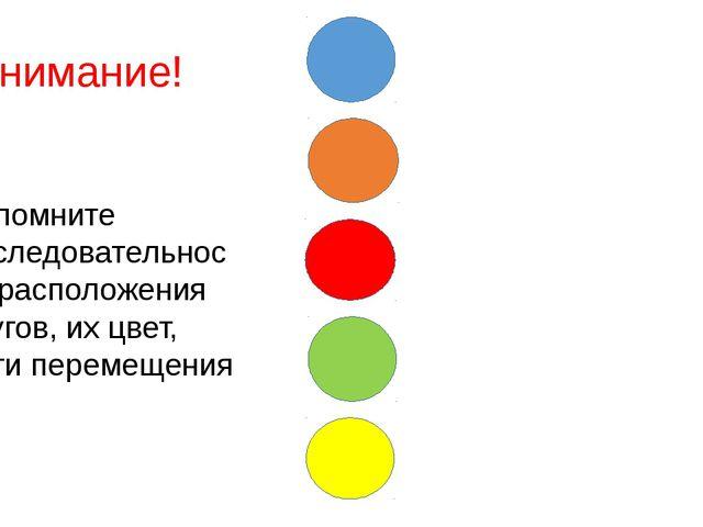 Запомните последовательность расположения кругов, их цвет, пути перемещения...