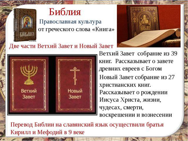 от греческого слова «Книга» Библия Две части Ветхий Завет и Новый Завет Ветх...