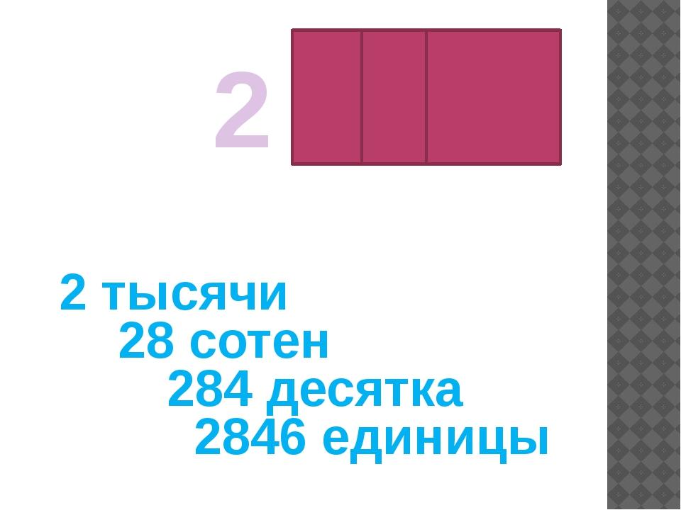 2 846 2 тысячи 28 сотен 284 десятка 2846 единицы