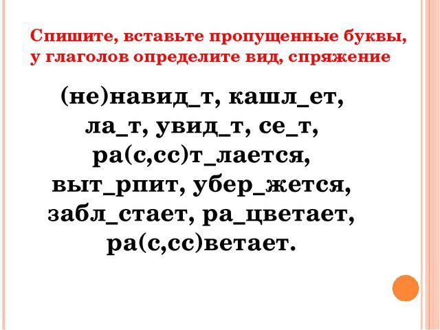 Спишите, вставьте пропущенные буквы, у глаголов определите вид, спряжение (не...