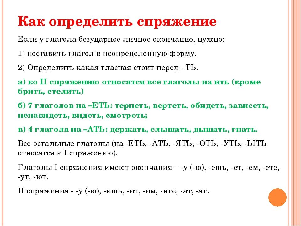 Как определить спряжение Если у глагола безударное личное окончание, нужно: 1...
