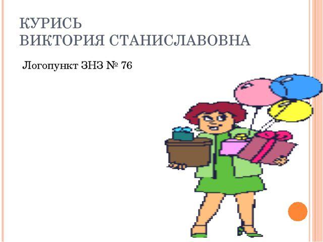 КУРИСЬ ВИКТОРИЯ СТАНИСЛАВОВНА Логопункт ЗНЗ № 76
