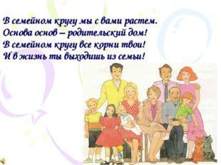 В семейном кругу мы с вами растем. Основа основ – родительский дом! В семейно