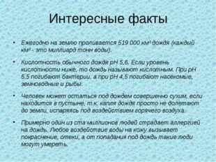 Интересные факты Ежегодно на землю проливается 519 000 км³ дождя (каждый км³