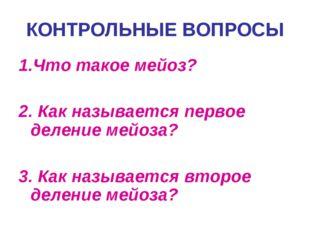 1.Что такое мейоз? 2. Как называется первое деление мейоза? 3. Как называется