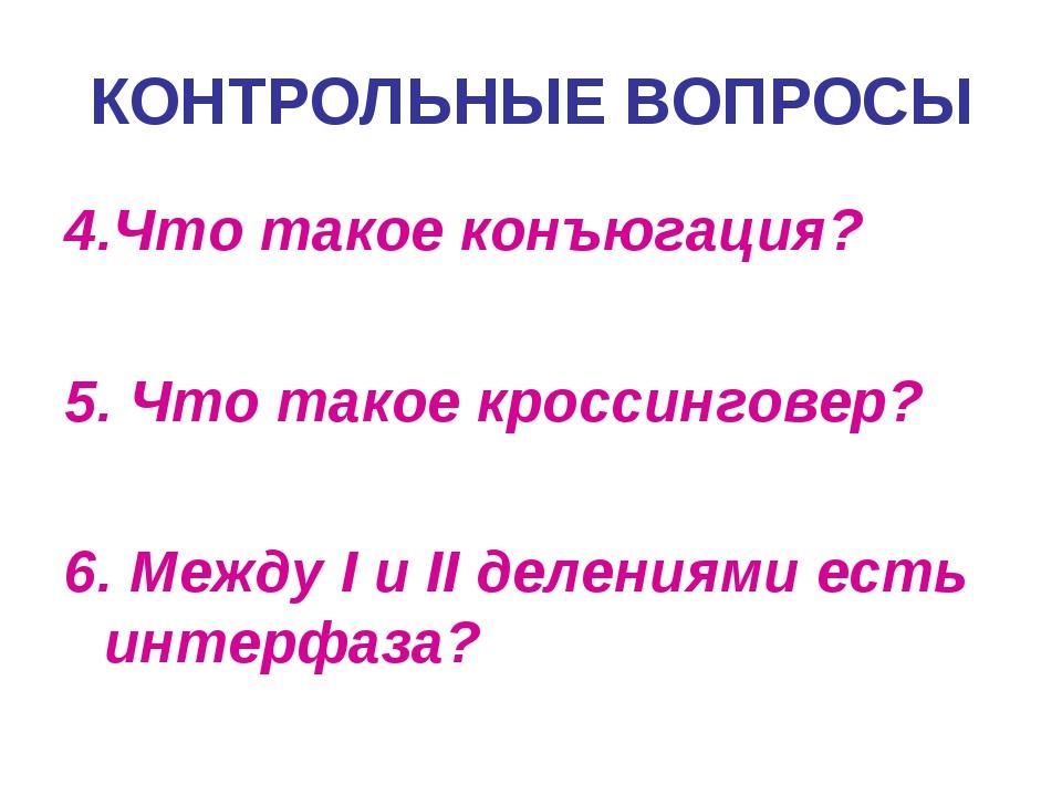 4.Что такое конъюгация? 5. Что такое кроссинговер? 6. Между I и II делениями...