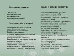 Содержание проекта: Тема проекта Цели и задачи проекта Содержание проекта Про