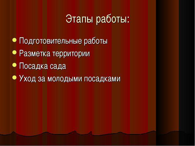 Этапы работы: Подготовительные работы Разметка территории Посадка сада Уход з...