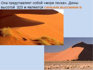 Она представляет собой «море песка». Дюны высотой 323 м являются самыми высок