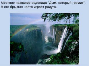 """Местное название водопада """"Дым, который гремит"""". В его брызгах часто играет р"""