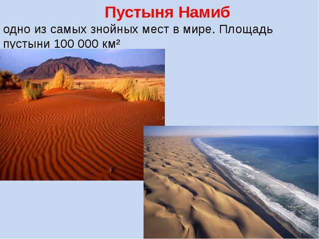 Пустыня Намиб одно из самых знойных мест в мире. Площадь пустыни 100 000 км²
